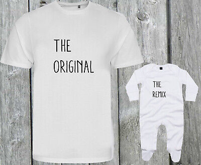 ORIGINAL & REMIX Baby Daddy Mummy Gift Shower ORGANIC Baby Grow New T-shirt Tee