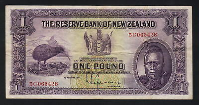 NEW ZEALAND P-155. (1934-40) 1 Pound - Lefeaux.. Prefix 5C..  VF - Crisp