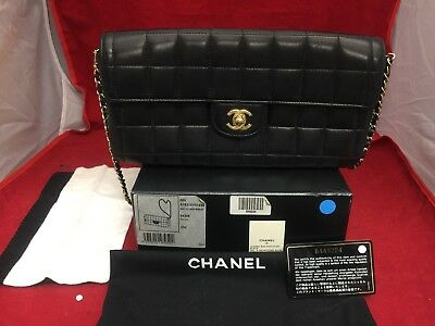 a38ccb381f73 CHANEL Lambskin Quilted East West Chocolate Bar Flap Shoulder Bag Clutch  Quilted