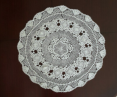Cotton Hand Crochet Doily Placemat Tablecloth Pineapple Lace Round 55CM White