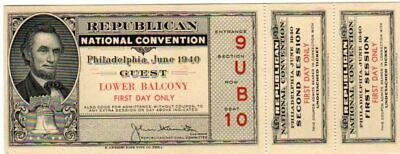 1940 Republican Convention 1st Day Ticket With Stubs