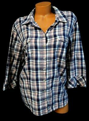 45fd25653ec Riders purple pink white plaid front pocket button down 3 4 sleeve top 2X