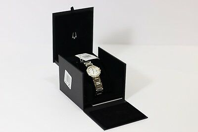 Bulova 98R260 Ladies Diamond Accented Two Tone Watch w/ MOP Dial
