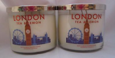 Lot of 2 Bath & and Body Works 14.5 oz scented Candles 3 Wick LONDON TEA & LEMON