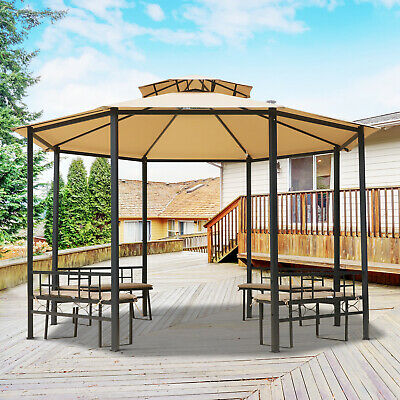 Outsunny Garden Octagon Metal Gazebo Canopy Tent Steel 2-Tier Roof w/ Benches