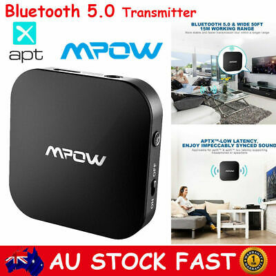MPOW Bluetooth V5.0 Transmitter 3.5mm AUX Audio Adapter for TV aptX Low Latency