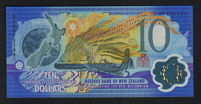 NEW ZEALAND - ERROR Note. 2000 Millennium $10. Mismatched Serial Numbers.. UNC