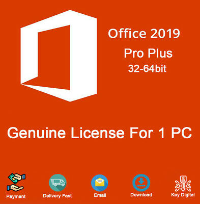 Office 2019 Pro Plus 32/64 Bit Dowload License For 1 PC Genuine