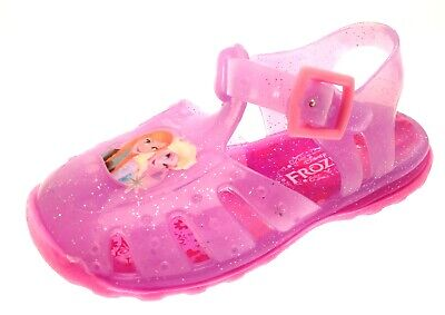 Girls Pink Frozen Elsa Anna Jelly Shoes Beach Glitter Sandals Jellies Kids Size