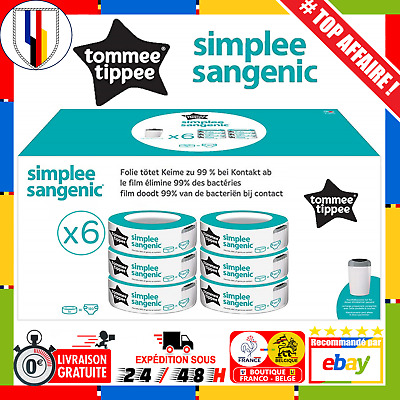 Tommee Tippee SIMPLEE Sangenic Lot 6x Recharges Poubelle à Couches Bloque odeurs