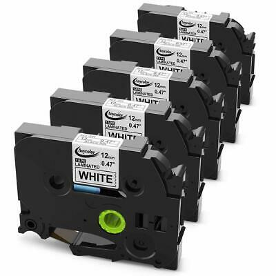 5PK TZe-231 TZ-231 Black on White Compatible Brother P-touch TZe Label Tape 12mm