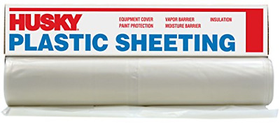HUSKY 10 x 50 ft Clear 6 mil Plastic Rain Weather Cover Poly Sheeting DIY Roll