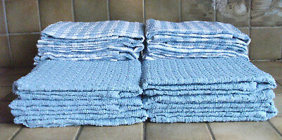 "PACK of 3 BLUE & WHITE TEA TOWELS 100% COTTON TERRY LARGE SIZE 18"" X 26"" approx"