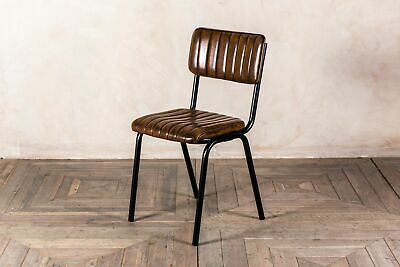 Stacking Dining Chair In Vintage Brown Ribbed Faux Leather, Cafe Restaurant