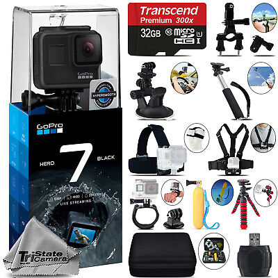 GoPro Hero 7 Black 4K60 Ultra HD, 12MP, Wi-Fi Waterproof Action Camera -32GB Kit