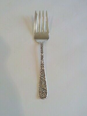 """S. Kirk & Son REPOUSSE Sterling Silver 7.5"""" Cold Meat Fork, 60 grams"""