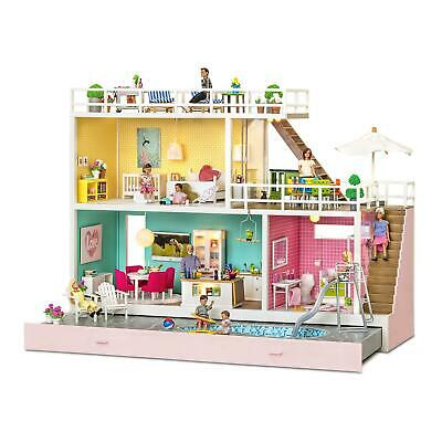 Lundby Modern Holiday Dolls House 1:18 Scale Swedish Play House with Pool