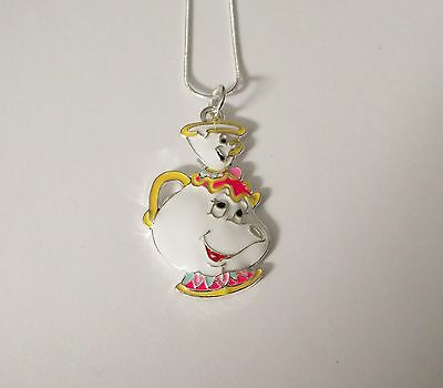 BEAUTY & THE BEAST MOVIE Inspired Large Charm NECKLACE MRS POTTS & CHIP