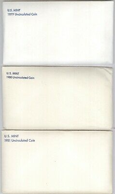 Lot of 3 (THREE) U.S. Mint Uncirculated Coin Sets + 1979, 1980 & 1981!