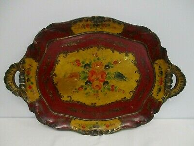 """ANTIQUE CARVED WOOD 26"""" X 18"""" HANDLED SERVING TRAY w HAND PAINTED FLOWERS"""