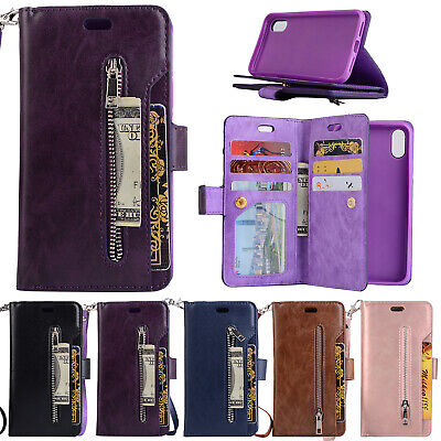 For iPhone 8 Plus 7 6s Leather Card Slot Zipper Wallet Stand Wristlet Case Cover