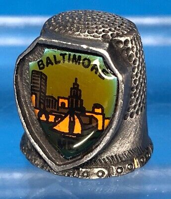 Vintage Pewter Baltimore Maryland MD Souvenir Enamel Shield Thimble