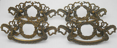 Set Of 4 Large Brass Drawer Handles - Victorian Style - Vintage