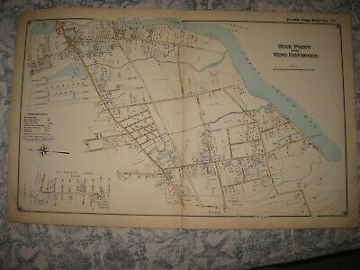 Antique 1915 Blue Point West Patchogue Suffolk County New York Handcolored Map