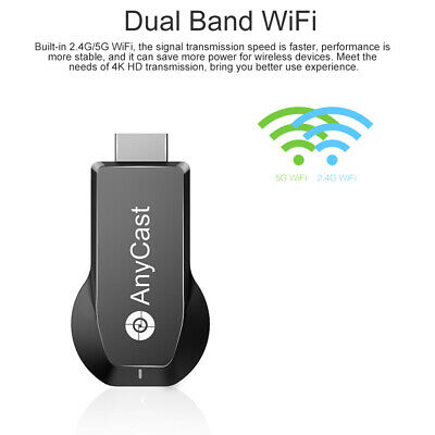 AnyCast M100 TV Dongle Display Receiver 2.4G+5G WiFi 4K Airplay DLNA Mirroring M