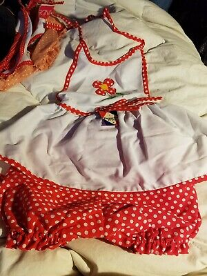 Girls designer floral polka dot new   PINAFORE outfit  1970S  4 year