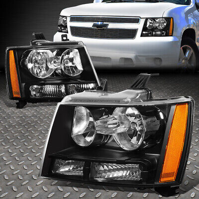 For 07-14 Chevy Tahoe Suburban Pair Black Housing Amber Corner Headlight Lamps