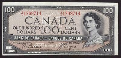 1954 Canada $100 devils face banknote Beattie Coyne A/J1768714 VF25