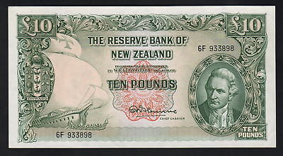NEW ZEALAND P-161cF. (1956-67) 10 Pounds - Fleming.  1st Prefix 6F.. aUNC