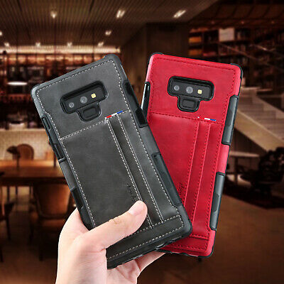 For Samsung Note 9 S8 S9 Shockproof Hybrid Leather Wallet Card Holder Case Cover