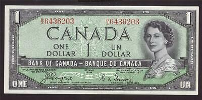 1954 Canada $1 dollar devils face banknote Choice UNC63 EPQ