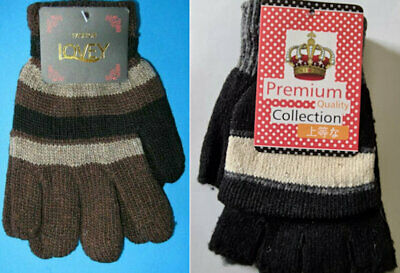 Kids Teens Thick Winter Knitted Mittens Gloves Assorted Colours FREE POST