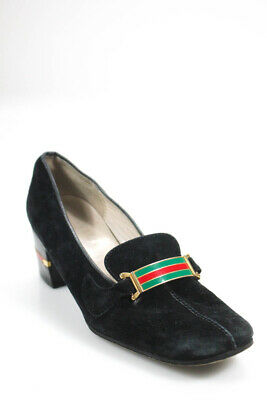335d0cf5d54 Gucci Womens Loafers Pumps Heels Black Suede Link Detail Size 38.5 8.5  LL19LL