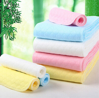 Baby Infant Cotton Washable Reusable Diaper Bamboo Inserts Nappy 3/6/9 Layers