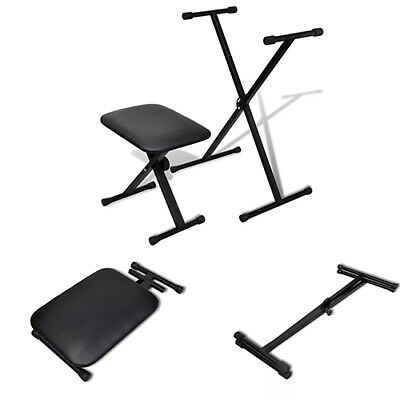 X-Style Frame Keyboard Stand and Stool Set Piano Bench Adjustable Height Folding