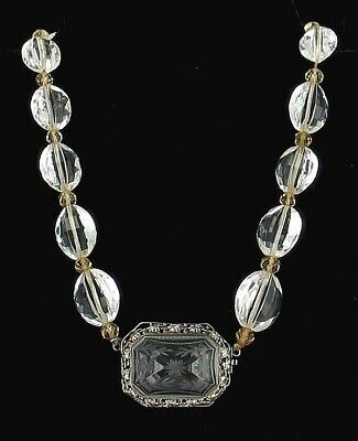 Wow Antique Sterling Carved Rock Crystal & Citrine Big Bead Necklace Germany15""