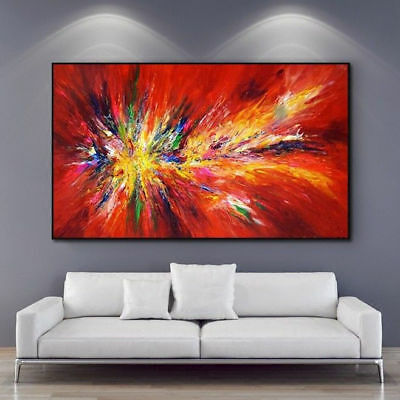 Modern Fashion Abstract Home Decor Wall Hand-painted Red Oil Painting Canvas Art