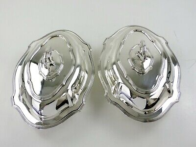 Stunning Pair of SILVER ENTREE DISHES, London 1907 Crest & motto 3060g Trotter