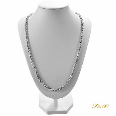 UK 925 silver rope twist bling hip hop curb mens chain necklace 16-30 inch 3mm