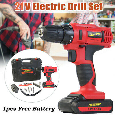 Heavy Duty 21V Cordless Drill Electric Screwdriver Li-Ion Battery Charger + Case