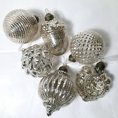 Six Hand Blown Mercury Glass Christmas Ornaments Vintage Kugel Style Silver