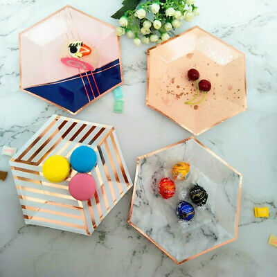Disposable 7''Paper Plate Hexagon Rose Gold Marble Stripe Disk Dish Party Supply