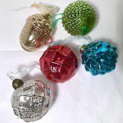 Five Hand Blown Mercury Glass Christmas Ornaments Vintage Kugel Style Assorted
