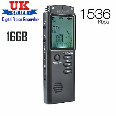 ieGeek 16GB Rechargeable Digital Sound Voice Recorder USB LCD Dictaphone MP3 UK