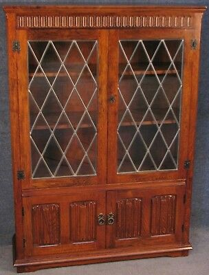 Jacobean Style Carved Oak Bookcase Cabinet No 1