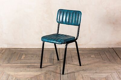 Stacking Dining Chair In Vintage Blue Ribbed Faux Leather, Cafe Restaurant Chair